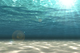 Abstract undersea background, white sand with sun ray for your design. Digital generating image.