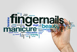 Fingernails word cloud concept on grey background