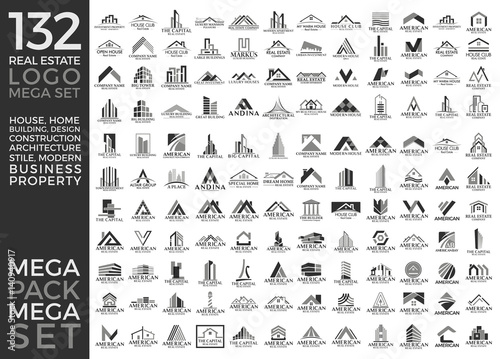Mega Set and Big Group, Real Estate, Building and Construction Logo Vector Design Eps 10 - 140940917