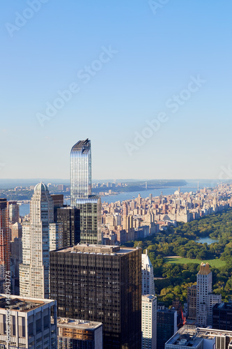 Poster Central Park high angle view in the warm morning light, New York city, clear blu