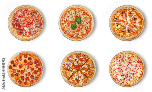 Six different pizza set for menu. Italian food traditional cuisine. Meat pizzas with mozzarella, salami, sausages, pepperoni and ham.