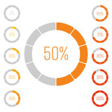 Fototapety Set of ring pie charts with percentage value. Performance analysis in percent. Modern vector grey-orange infographic graph elements.