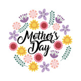 happy mother's day card with beautiful flowers over white background. colorful design. vector illustration