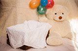 Beautiful interior with a box for a baby, balls of air and a big soft bear toy