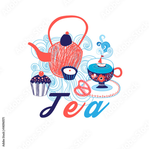 Vector greeting card with cup of tea - 140961171