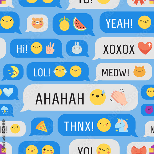 Messages with cute emoji seamless vector pattern.