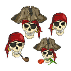 Four skulls of pirates, isolated on white background. Vector illustration