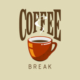 Coffee cup vector logo coffee break poster cup icon illustration coffee logo