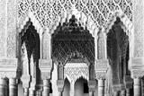 Moorish arches and columns of Alhambra harem in Granada, Spain