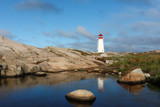 Lighthouse at Peggys Cove Sunrise, Nova Scotia, Canada