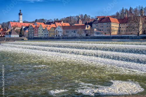Landsberg. Panoramic view of beautiful falls in Landsberg an Lech, tipical medieval town in Bavaria Germany