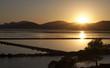 Sunset on saltworks of Ibiza