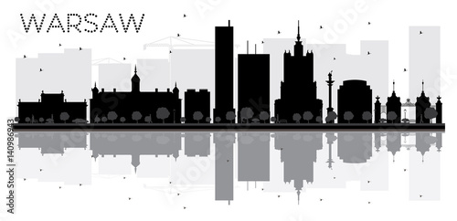 Warsaw City skyline black and white silhouette with reflections.