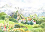 Watercolor landscape with mountains, meadow, village.Cool day in the Alps. Painting suit for wallpaper, background, poster. Artwork. Mountain Fog. Tour to Switzerland