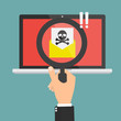 Human hand with magnifying glass found spam email with skull and cross bones computer virus on laptop computer. Vector illustration cybercrime concept design.
