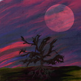 abstract spooky mixed media background with spooky silhouette of dark tree and crow on it, big moon rising, zombie time background