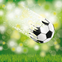 Flying Football Dust Green Grass Bokeh