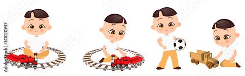 Set young Japanese boy playing toy. Vector illustration eps 10 isolated on white background. Flat cartoon style.