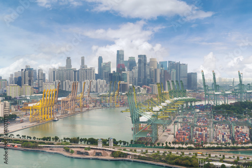 Aerial view of Singapore shipping port with Central Business District, Singapore Poster