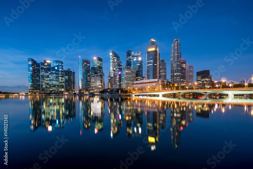 Poster Singapore business district skyline in night at Marina Bay, Singapore