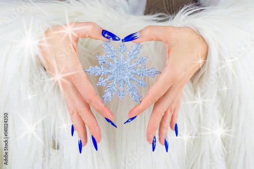 Christmas blue nails Plakát