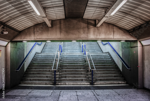 Poster Tube station steps in London