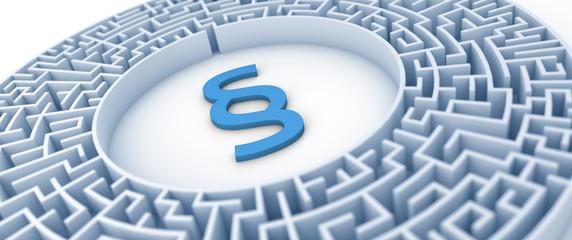 Paragraph Symbol in Labyrinth - Konzept Anwalt, Gericht, Steuersystem oder Finanzamt