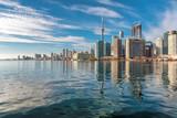 Beautiful Toronto skyline with CN Tower over Ontario lake. Canada.