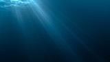 Light rays in underwater scene. 3D rendered illustration.