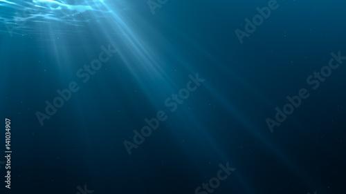 Light rays in underwater scene. 3D rendered illustration.