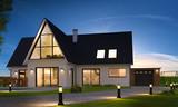 Belle maison de nuit contemporaine moderne avec piscine - 141038375