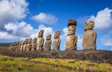 Moais statues, ahu Tongariki, easter island - 141038743