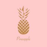 Fototapety Gold foil Pineapple design. Summer fruit trendy illustration. Pineapple isolated on pink background. Poster pattern. Tropical fruit. Vector.