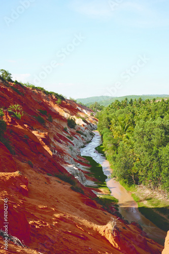 Beautiful landmark of the fairy Stream Canyon in the afternoon, Mui Ne, Vietnam, Southeast Asia.
