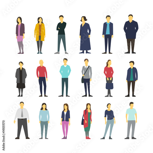 Neatly vector people standing flat design large set