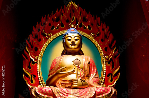 Buddha in the Tooth Relic Temple, Singapore Poster