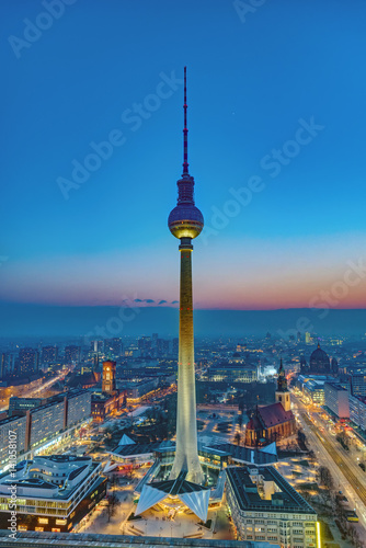 Poster Downtown Berlin with the famous Television Tower after sunset