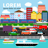 City street view vector illustration. Urban panorama background with river, road and buildings