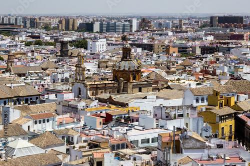 Aerial view of Seville - Sevilha, Spain, taken from Giralda tower