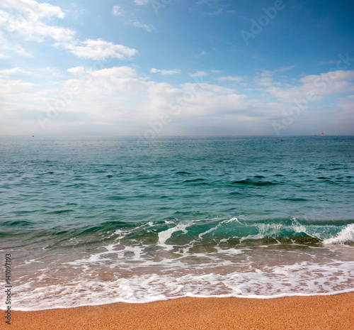 A beautiful ocean surface under a sunny skyline with a sandy beach - 141097193