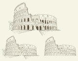 Three doodled outline illustrations of the Colosseum in Rome, Italy