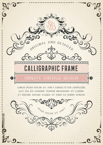Vertical vintage ornate template with monogram and typographic design, calligraphy swirls and swashes. Can be used for retro invitations and royal certificates. Vector illustration.