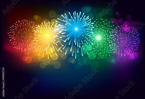 Colorful firework on black background for celebration - 141103754