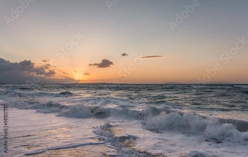 Foto op Canvas Zee zonsondergang Dusk, Sicily
