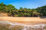 Paradise beach in Gokarna. Beautiful deserted landscape with clean sand and wave. View from the sea to the shore. - 141108570
