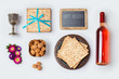 Jewish holiday Passover food and wine for mock up template design. View from above. Flat lay