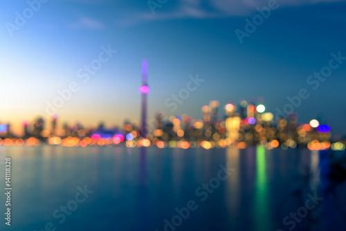 Stampa su Tela Toronto city skyline at night blur background, Ontario, Toronto