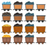Mining carts loaded with stone and gold