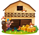 Farmer and chickens in the farm