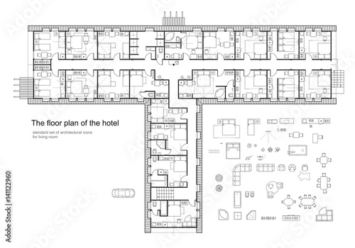Standard Hotel Furniture Symbols Set Used In Architecture